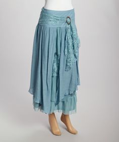 Loving this Aqua & Turquoise Lace Linen-Blend Peasant Skirt on #zulily! #zulilyfinds
