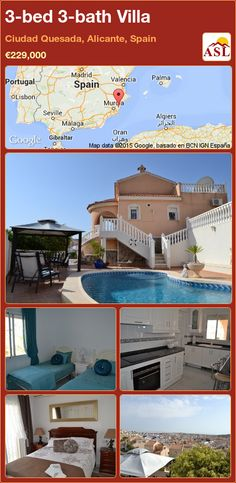 3-bed 3-bath Villa in Ciudad Quesada, Alicante, Spain ►€229,000 #PropertyForSaleInSpain
