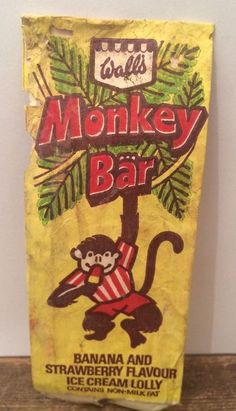 Very Rare Wall s Icecream.monkey bar Confectionery Wrapper Advertising 1970s