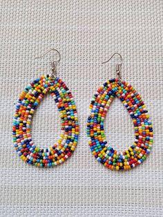 Masai Jewelry African Earrings ON SALE Tribal Hoop Earrings Bead Ea Masai Earring Kenya Jewelry Hoop Earring Africa Jewelry for Women