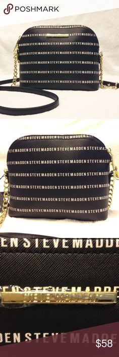 "🆕 STEVE MADDEN BMARYLIN CROSSBODY Gorgeous Steve Madden Crossbody. Black With White Steve Madden Logo  Gold Tone Hardware. Steve Madden Plate On Front . Top Zipper Closure. Black And Chain Strap   Interior Lined With Logo. One Zipper Pocket. One Drop/Cell Phone Pocket  DIMENSIONS 7.5 (H) x 9..5 (L) x3.5 (D)  Drop 23""  100% Authentic! Buy With Confidence. I Am A Poshmark Ambassador With A Five Star Rating! Steve Madden Bags Crossbody Bags"