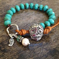 "Sugar Skull Knotted Bracelet, Turquoise & Silver Leather Wrap ""Boho Chic"""