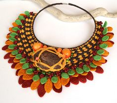 big bold chunky necklace autumn leaves necklace by Marmotescu