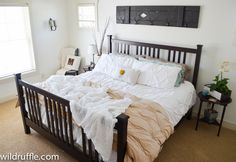 All white bedroom - A master bedroom makeover with just $125 - transform your small space!