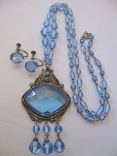 Vintage Czech Blue Crystal Filigree Wire Work Necklace and Earrings
