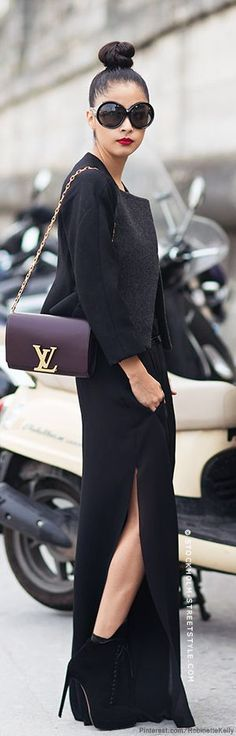 #style   denni elias   Tom Ford sunglasses, Acne trousers, Versace bodysuit, Stella McCartney blazer, Alaïa boots, Louis Vuitton bag