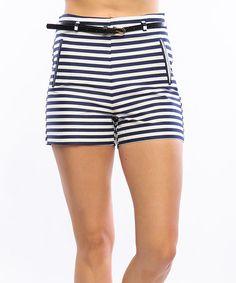 Love this Navy & White Nautical Stripe High-Waist Shorts on #zulily! #zulilyfinds