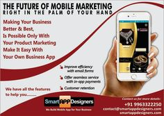 Do you have any Business, Spending too much money for marketing? Hello, Smart App Designers are the best mobile app developers in andhra & Telungana.  Just think of it why don't you get your own app for your business with low cost.  You are at the right place , we are creating apps with best & better features..  Any App with best & Better Features Will Always Helps your Business to grow. For more details..  Please Contact Y Ramesh : 9704402024, 040-40070482…