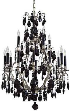 Polished nickel chandelier with jet black crystals