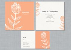 Printable Wedding Invitation Set  Flower by mikiodesign on Etsy, $55.00