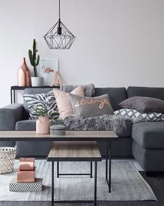 """imm24: """" This was hands down the most liked living room of 2015, courtesy of @ellosofficial and I'm still loving the grey, blush and rose gold combo  """""""