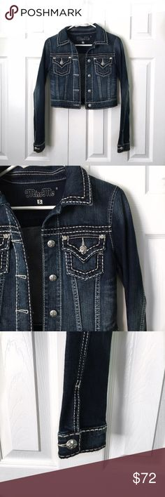 Miss Me Crop Denim Jacket Beautiful Miss Me crop denim Jean jacket! Great spring addition to your wardrobe. Would look amazing with a dress and boots :) •NO TRADES• Miss Me Jackets & Coats