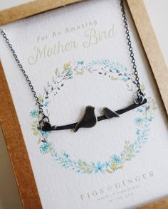 "Original Bird on a Branch Mother's Necklace by Figs & Ginger. http://FigsandGinger.com ""For An Amazing Mother Bird"" .925"