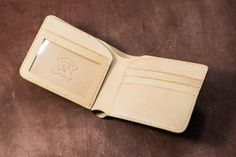 Natural Leather Bi-fold Wallet with Photo by EternalLeatherGoods