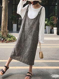 Only US$21.99 , shop Stripe Strap Pocket Back Split Dress at Banggood.com. Buy fashion Casual Dresses online.