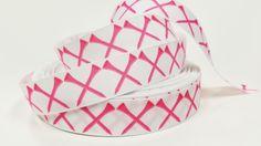 "1 yard 7/8"" inch Pink Golf Tee Tees on white - Matches Golf Ribbon Sports - Printed Grosgrain Ribbon for Hair Bow - Original Design"