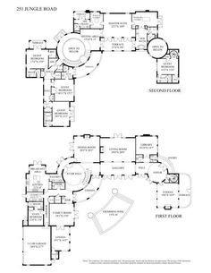 8,000 square foot, Palm Beach mansion. Main and upper level floor plans. Address: 251 Jungle Rd