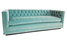 Furniture: Seating: Sofas & Loveseats - One Kings Lane Aqua Draper 88 ' velvet Settee Sofa, Tufted Sofa, Sectional Sofa, Couches, Sleeper Sofa, Furniture Making, Home Furniture, Funky Furniture, Handmade Furniture