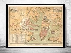 Old Map of Valletta Malta 1805
