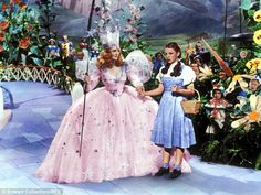 Judy Garland as Dorothy Gale, in a scene with Billie Burke's Glinda, in 1939 film, The Wizard Of Oz
