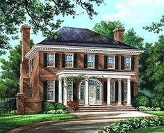 Colonial Plantation Southern House Plan 86225 Elevation like the exterior, but needs another bedroom Colonial House Plans, Southern House Plans, Traditional House Plans, Southern Homes, Colonial Style Homes, Traditional Homes, Traditional Home Exteriors, Colonial House Exteriors, Colonial Cottage