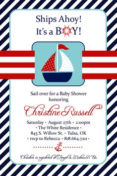 Baby Boy Shower Invitation   Chevron Nautical Theme   Whimsical Vintage  Retro, Yellow Blue Navy, Anchor   Twins   Printable | Graphic Design |  Pinterest ...