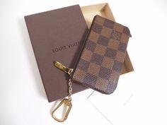 Auth Louis Vuitton Pochette Cles Damier Coin Case Wallet w/ Key Chain Holder #LouisVuitton #CoinPurse