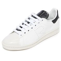 Adidas Raf Simons Stan Smith Sneakers (523 AUD) ❤ liked on Polyvore featuring shoes, sneakers, leather lace up shoes, lace up sneakers, leather shoes, lace up shoes and adidas shoes