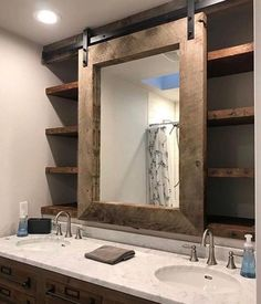Barn door bathroom cabinet #decoratingbathroomscounters