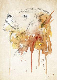 Lion. Watercolour art project by Birgitte Rishatt, via Behance