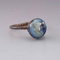 Round Blue Luster Silver Foil Lampwork Handmade Glass Copper