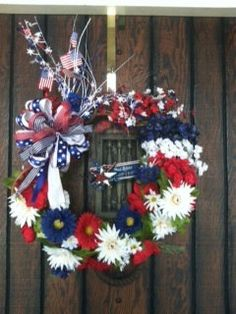 """18"""" Fourth of July Wreath with Bow on Etsy, $45.00"""