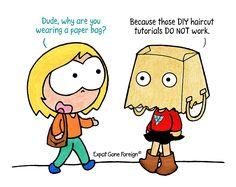 Sometimes you succeed, sometimes you learn ~ #DIYing #pandemic #handcrafts #haircut #hairstyle #DIY #tutorial #comic #humor #fail Diy Haircut, A Comics, Diy Tutorial, Hairstyle, Humor, Learning, Creative, Hair Job, Hair Style