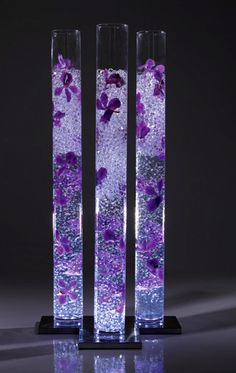 Extra Tall Vases Extra Slim Clear Glass Cylinder Vase x Purple Stuff, Purple Love, All Things Purple, Purple Rain, Shades Of Purple, Purple Flowers, Blue Orchids, White Flowers, Wedding Centerpieces