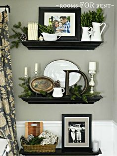 Home decorating ideas - floating shelf vignette decorated for holiday | rooms FOR rent