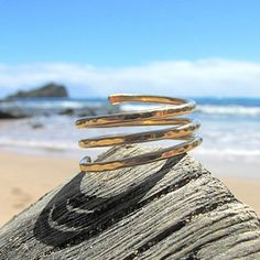 Triple Wrap Ring Gold Simple Spiral Coil by HanaMauiCreations