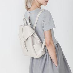 Little beige leather backpack | Asya Malbershtein