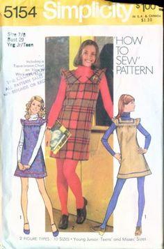 Vintage Simplicity 1972 Pattern #5154 Young Junior Teen/Misses BOHO MINI Jumper Dress 7/8 B28