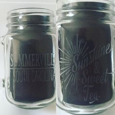 Etched Mason jar mug