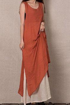 Color Block Sleeveless Linen Maxi Dress