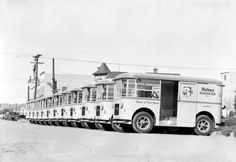 Helms Bakery trucks delivered freshly baked goods to neighborhoods across Southern California. This is a fleet of them in 1931, the year the service debuted. From the Dick Whittington Photography Collection in the USC Digital Library