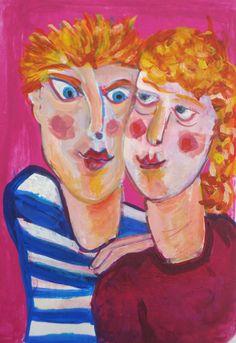 painting of couple heavenly in love by AteliervanBiesbergen, $150,00