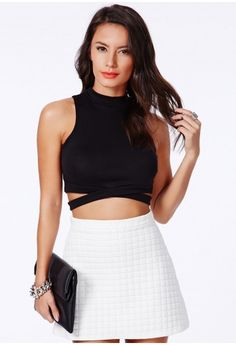 Naira High Neck Crop Top With Bandage Waist - Tops - Crop Tops & Bralets - Missguided