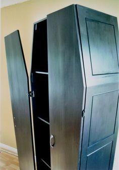 coffin shaped book case details  by Montreal artist Tommy Poirier-Morissette