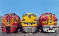 Southern Pacific, Union Pacific, and Santa Fe EMD E Units.