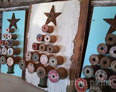 Vintage Wood Spool Tree Art - 32 Astonishing DIY Vintage Christmas Decor Ideas