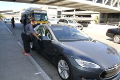 Julia Louis-Dreyfus in Julia Louis-Dreyfus Drops Off Her Son at LAX in her new Tesla For more, check out:  www.evannex.com