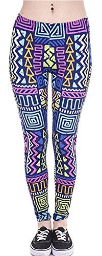 3ef4d6f6179aa3 Ndoobiy Digital Printed Women's Full-Length Yoga Workout Leggings Thin  Capris (Colored Shapes) at Amazon Women's Clothing store: