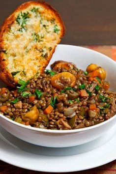 Italian Lentil and Chestnut Stew - Recipes Veggie Dishes, Veggie Recipes, Whole Food Recipes, Vegetarian Recipes, Cooking Recipes, Healthy Recipes, Vegetarian Stew, Pasta Recipes, Vegan Lentil Recipes