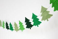 Christmas Trees Felt Garland - Christmas Decor